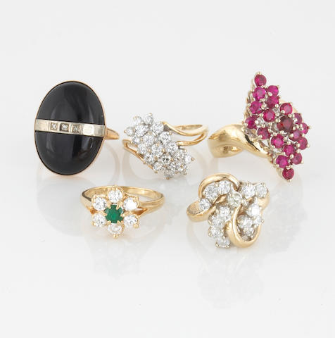 A group of five diamond, gem-set and 14k gold rings, 27.5g