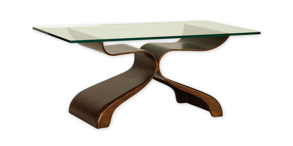 A Modern patinated wrought iron and glass cocktail table, 'Mariposa'