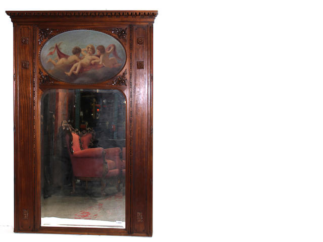 A Louis XVI style carved walnut and painted trumeau mirror, late 19th/early 20th century