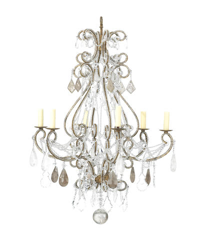 An Italian Neoclassical style glass, rock crystal and gilt iron and tole eight light chandelier