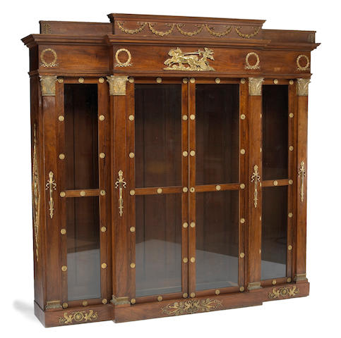 An Empire style gilt bronze mounted mahogany bibliothèque<br>fourth quarter 19th century