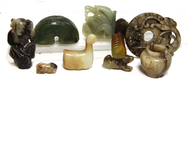 A group of nine jade and hardstone carvings