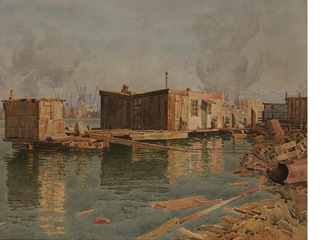 Gunnar Widforss (1879-1934) Houseboat with busy port beyond 16 x 20in