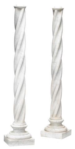 A pair of Italian white veined marble Solomonic  columns  19th century