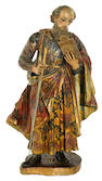 A Spanish carved wood and polychrome decorated figure of Saint Joseph <br>18th century