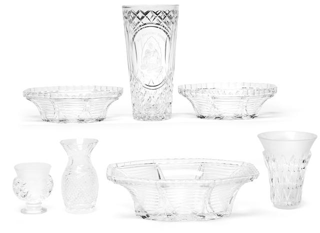 A large assembled group of cut clear and molded glass tableware and decorations 20th century