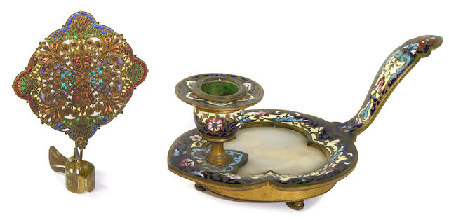 A French gilt bronze champlevé and onyx chamberstick  late 19th century