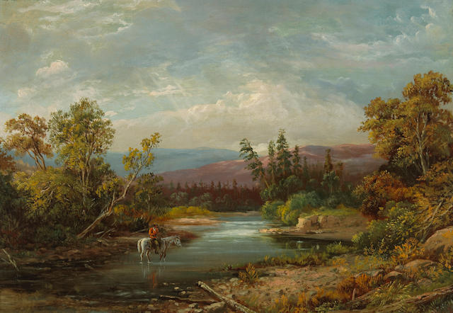 California School Rider on horseback fording a river 14 1/4 x 20 1/4in