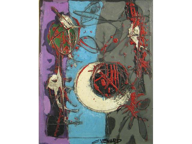 Claude Vénard (French, 1913-1999) Composition aux fraises ét feuille 16 x 13in
