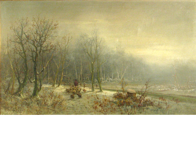 Frederick Ferdinand Schafer (German/American, 1839-1927) A shepherd and his flock in winter 20 1/4 x 30 1/4in