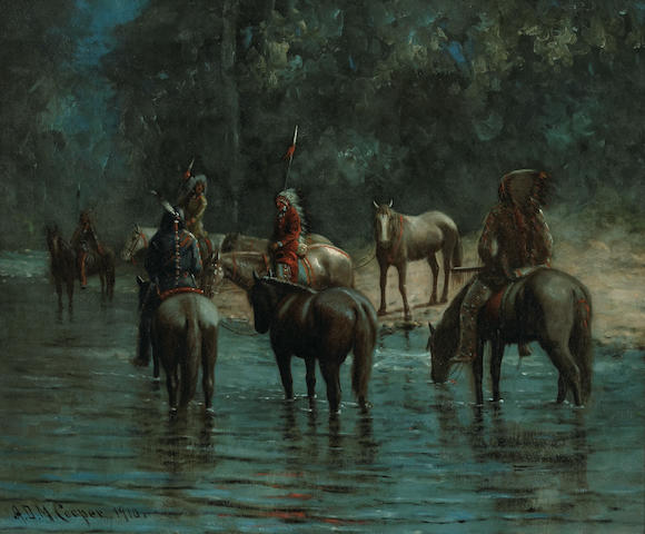 Astley David Middleton Cooper (American, 1856-1924) Indians on horseback at twilight, 1910 25 x 30in
