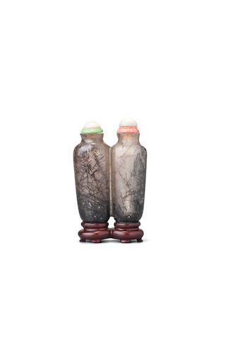 A 'hair crystal' double snuff bottle 1780-1860
