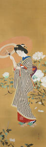 Tateishi Harumi (1908 – 1994)<br>Shiro botan (White Peony) Circa 1930 to 1940