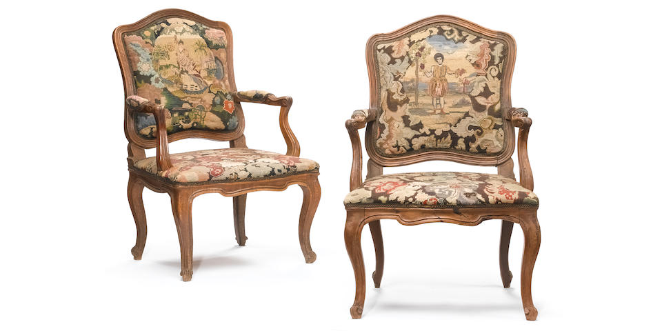 A pair of Italian Rococo walnut armchairs  <br>mid 18th century