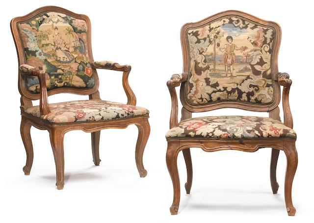 A pair of Italian Rococo walnut armchairs