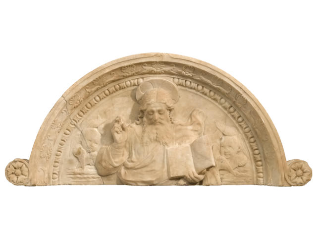 A Florentine carved marble tympanum depicting God the Father <br>Style of Francesco de Simone Ferrucci (1437-1493)<br>late 15th / early 16th century