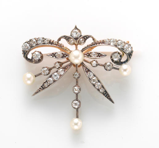 An antique diamond and cultured pearl brooch,