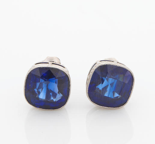 A pair of synthetic sapphire earrings