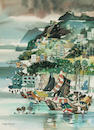 Dong Kingman (American, 1911-2000) Typhoon shelter, Hong Kong 30 x 22in