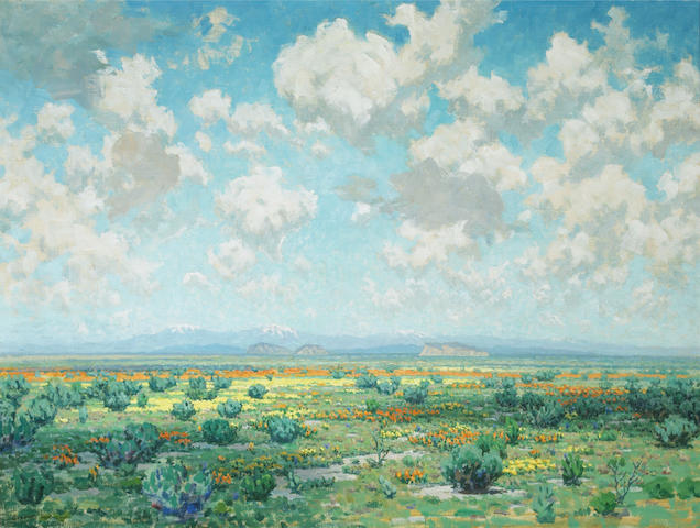 Granville Redmond (American, 1871-1935) High desert in bloom 30 1/4 x 40 1/4in