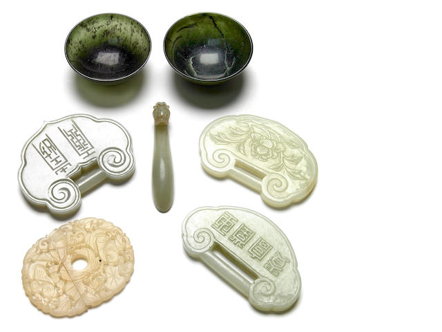 A group of seven Chinese carved nephrite jade and hardstone decorations 19th and 20th century