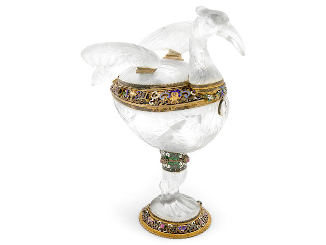 A fine Austrian 800 standard silver gilt enamel and jewel mounted carved rock crystal covered cup <br>Maker SG, Vienna, 1886-1922