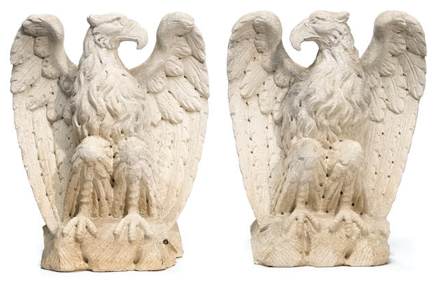 A pair of carved vicenza stone figures of eagles  late 19th century