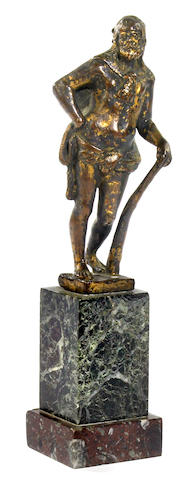 An Italian gilt bronze figure of Hercules  17th century
