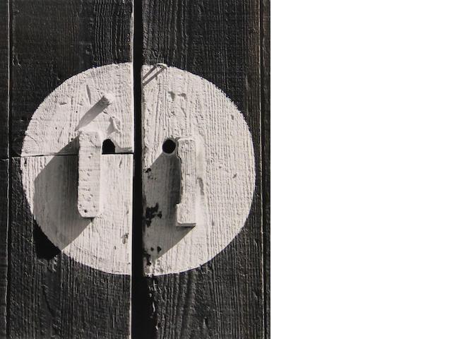 Morley Baer (American, born 1916); Barn Door Handles, Jalama Beach;