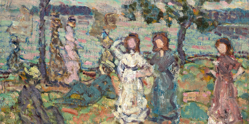 (n/a) Maurice Brazil Prendergast (American, 1858-1924) Park along the Shore 20 1/4 x 24 3/8in