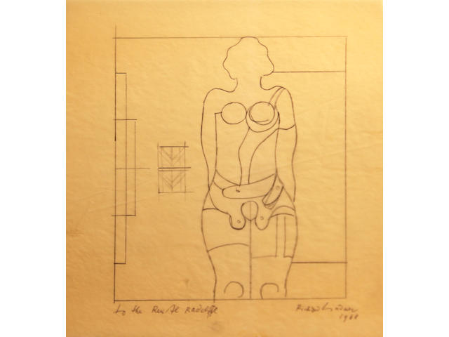 Richard Lindner (American, 1901-1978) Sketch for the painting, Marilyn Was Here, 1967 9 1/2 x 8 1/2in unframed