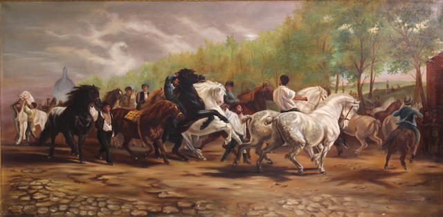 After Rosa Bonheur The horse fair 25 x 50 1/2in