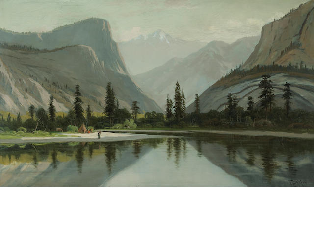 Frederick F. Shafer, Indian encampment, o/c, 30 x 50in