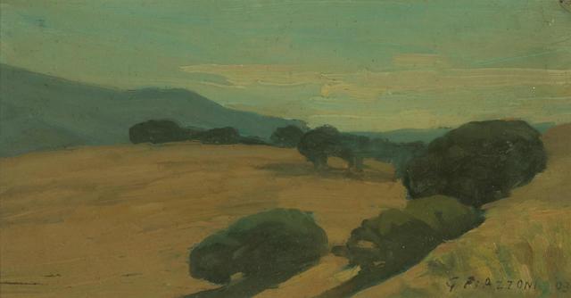 Gottardo Piazzoni (American, 1872-1945) Oaks on rolling hills, 1903 4 1/2 x 8 1/2in