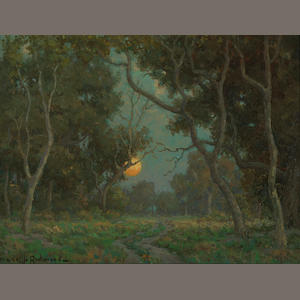 Granville Redmond (American, 1871-1935) Early moon 12 x 16in