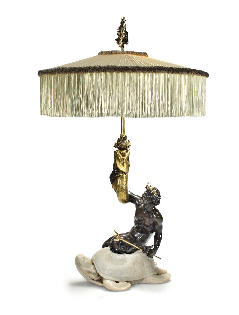 A fine American parcel gilt, patinated bronze and marble figural lamp Edward F. Caldwell & Co., New York, circa 1910