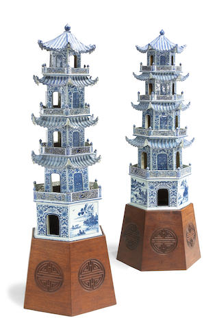 A pair of blue and white export porcelain five-story pagodas 19th Century