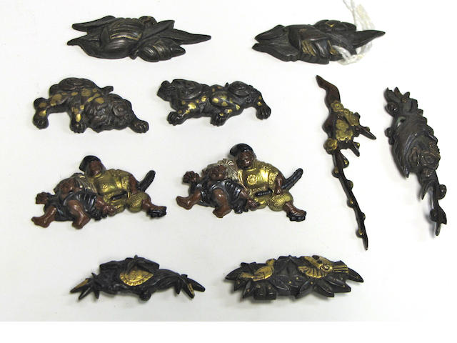 Six pairs of mixed metal menuki Edo Period