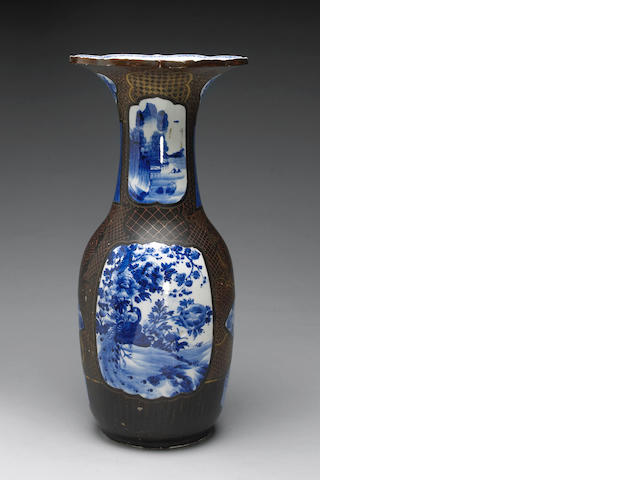 A large lacquer decorated porcelain vase Meiji Period