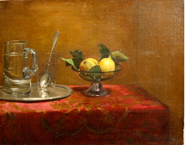 British School, 20th Century A still life with glassware and lemons on a table 18 1/2 x 22in unframed