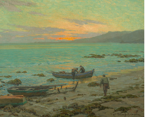 Granville Redmond (American, 1871-1935) The fishermen 20 x 25in