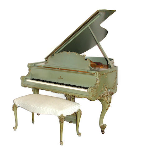 A Louis XV style parcel gilt paint decorated piano  Steinway and Sons, Model M, serial number 254504