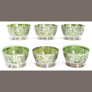 A sterling set of six reticulated finger bowl frames   . Gorham