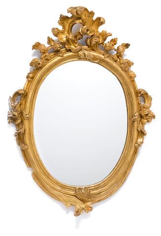 An Italian Rococo carved giltwood mirror  third quarter 18th century