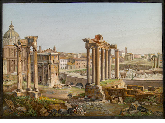 A fine Italian micro mosaic panel depicting the Forum  possibly Domenico Moglia circa 1850