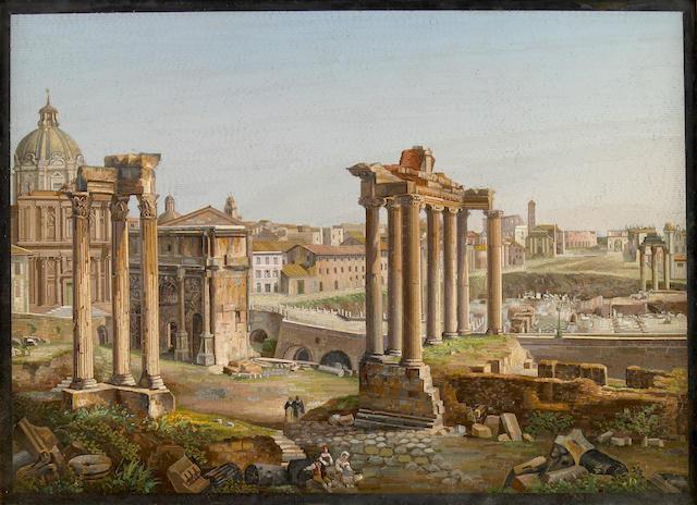A fine Italian micro mosaic panel depicting the Forum  possibly Domenico Moglia circa 1850