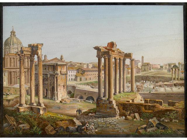 A fine Italian micromosaic panel depicting the Roman Forum  circa 1850