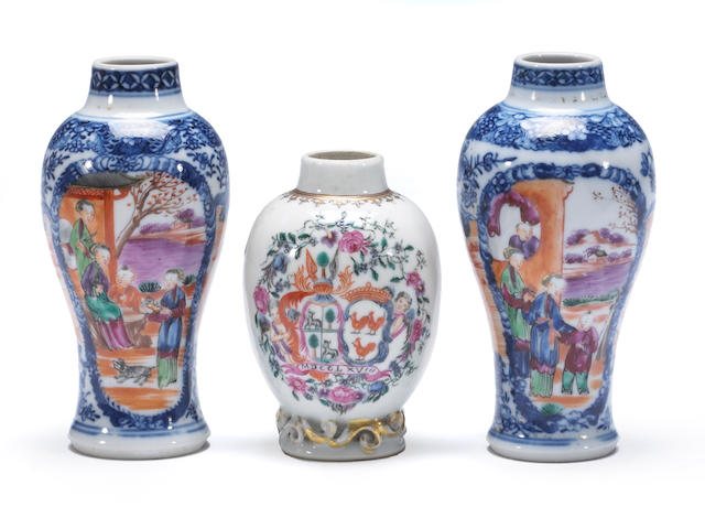 Three small Chinese Export porcelain vases 18th century