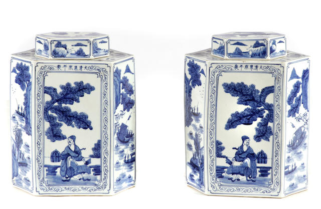A pair of Chinese blue and white porcelain tea caddies
