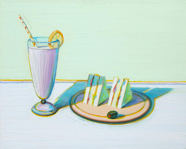 Wayne Thiebaud (American, born 1920) Milkshake & Sandwiches, 2000 15 3/4 x 20in